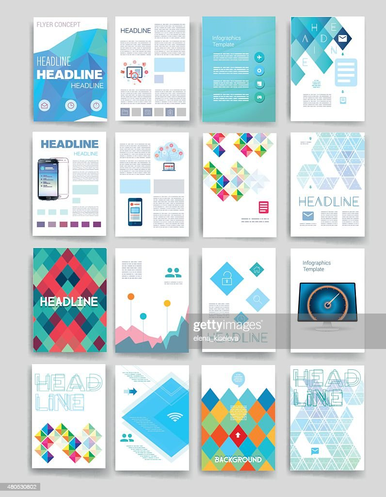 Templates. Design Set of Web, Mail, Brochures. Mobile, Technology, Infographic : Vektorgrafik