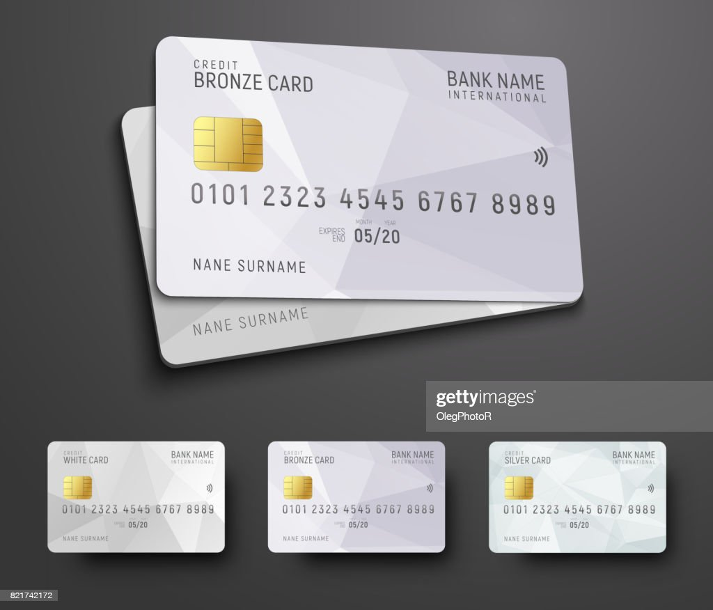 Templates for design of a credit (debit) bank card with a white polygonal abstract background