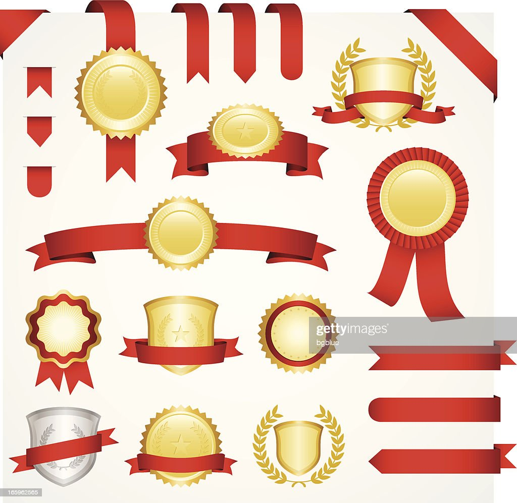 Templates for gold and silver medallions with red ribbons  : stock illustration