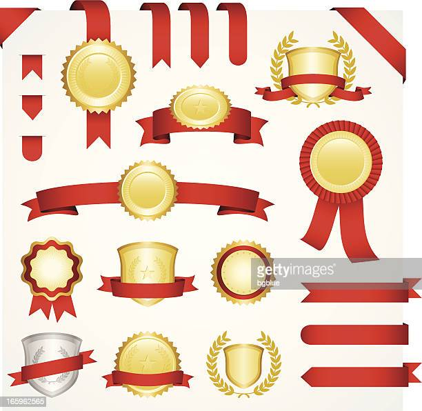 Templates for gold and silver medallions with red ribbons