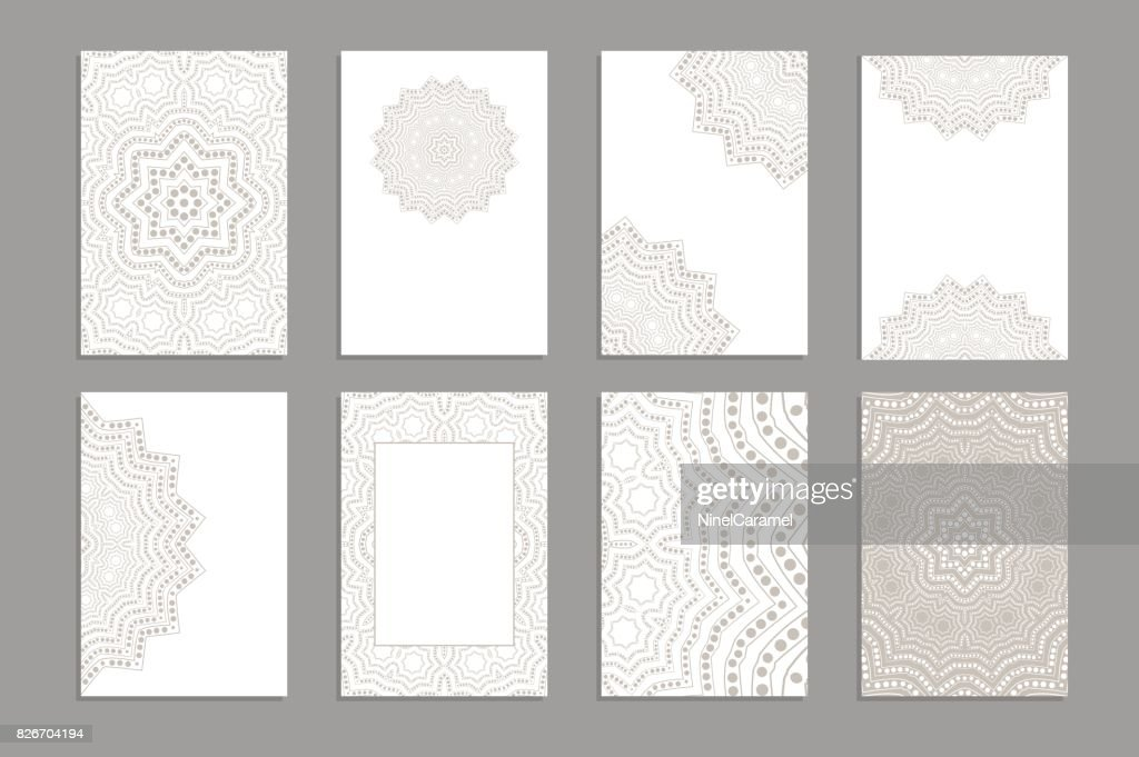 Templates for greeting and business cards, brochures, covers with floral motifs. Oriental lace pattern. Lacy mandala.