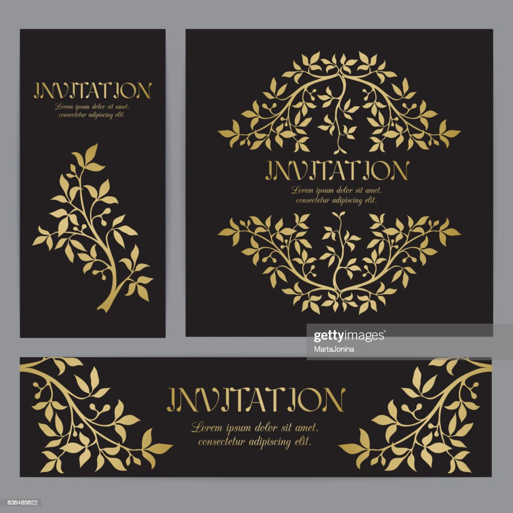 Templates for invitations with gold graphic florals.
