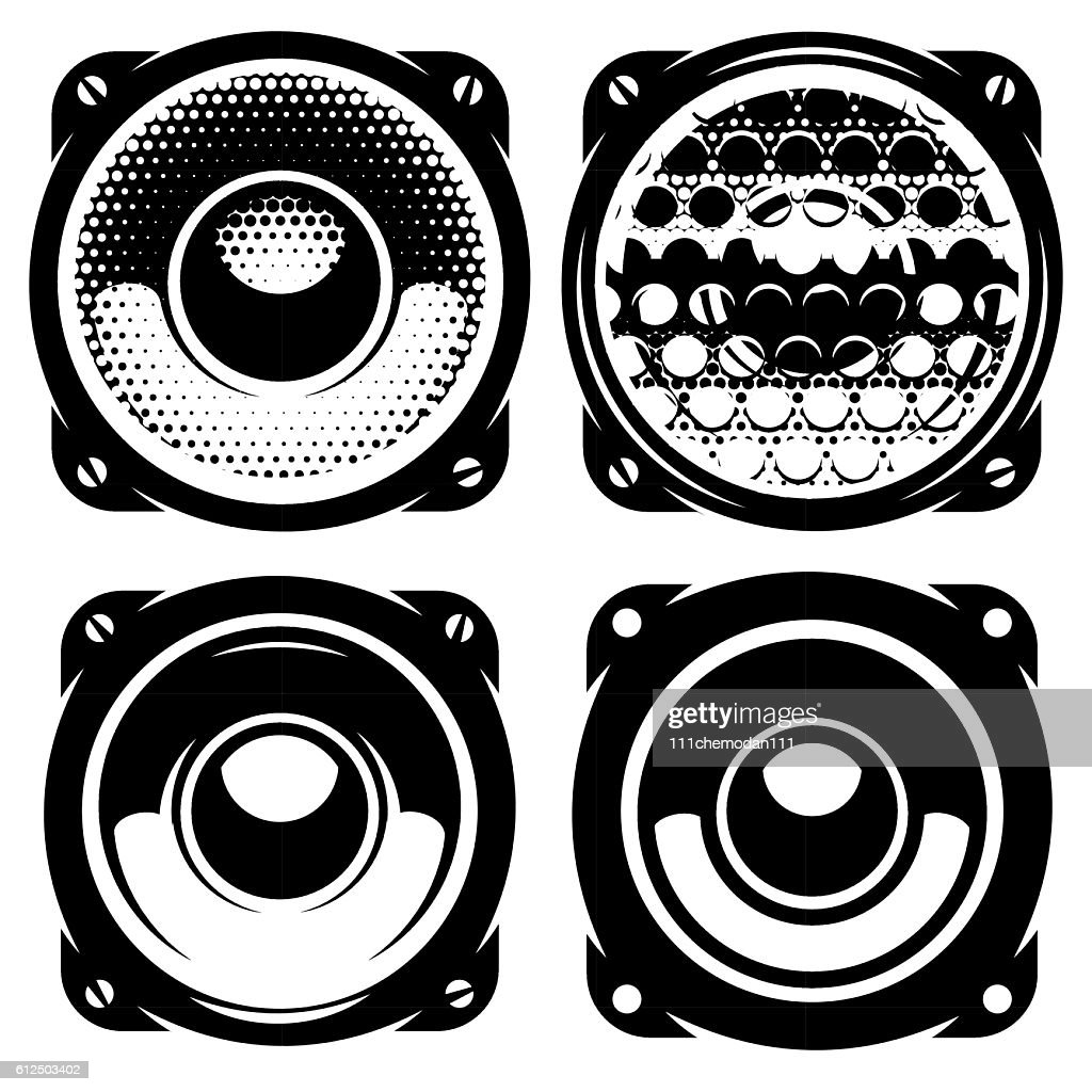 templates for posters or badges with monochrome acoustic speakers