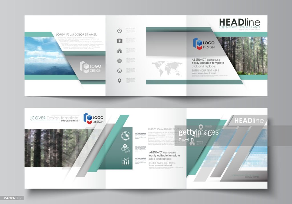 templates for tri fold square design brochures leaflet cover vector