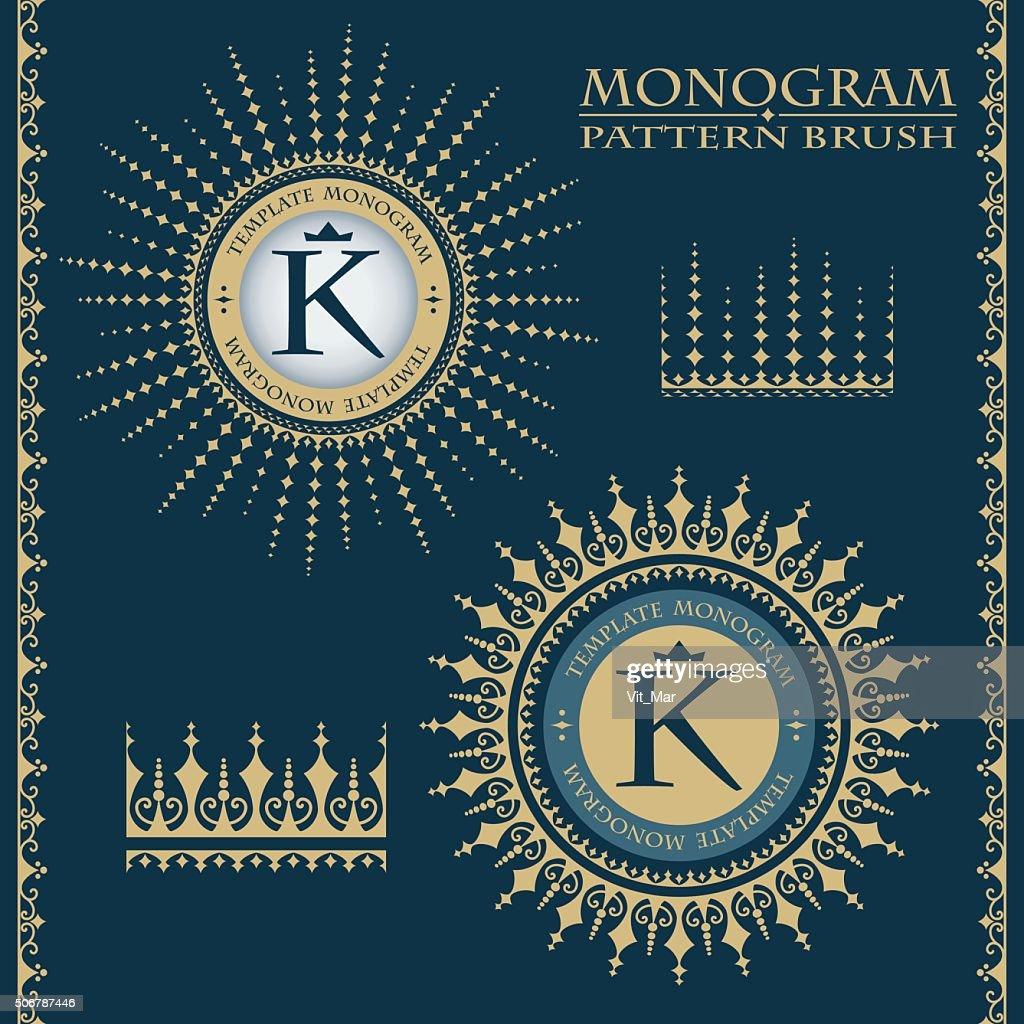 Templates monograms samples brushes. Vector illustration