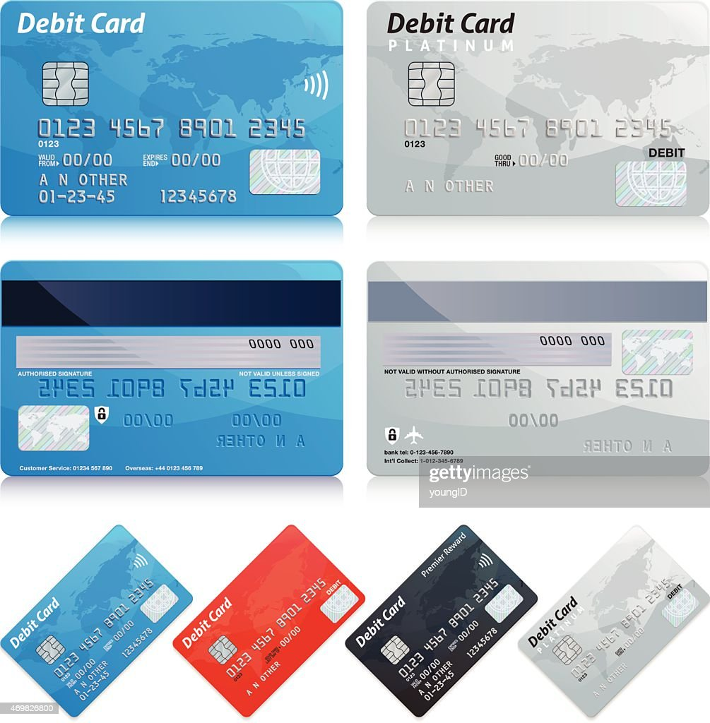 templates of different kinds of debit cards highres