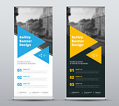 Templates of vector white and black roll-up banners with a place for a photo.