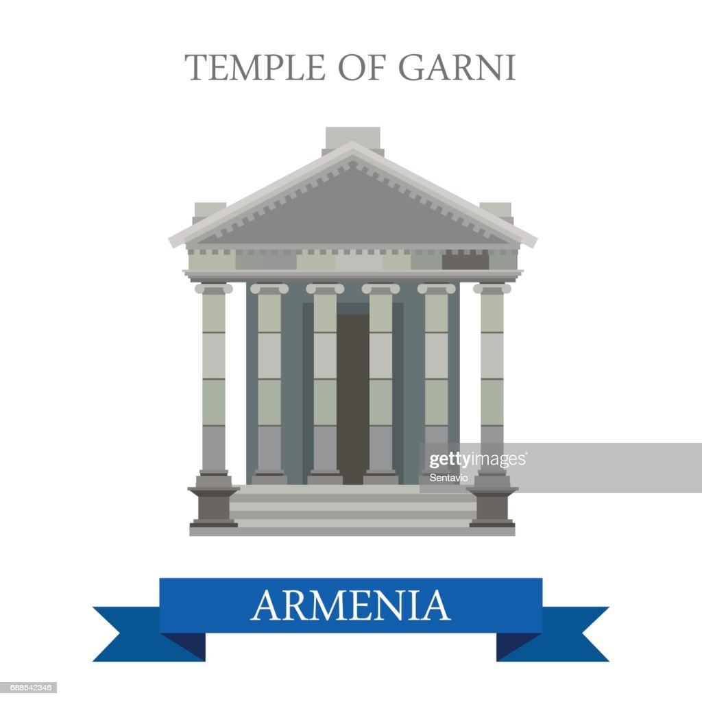 Temple of Garni in Armenia. Flat cartoon style historic sight showplace attraction web site vector illustration. World countries cities vacation travel sightseeing Asia collection.