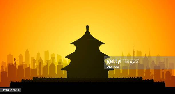 illustrazioni stock, clip art, cartoni animati e icone di tendenza di temple of heaven, beijing, china (all buildings are complete and moveable) - monumento