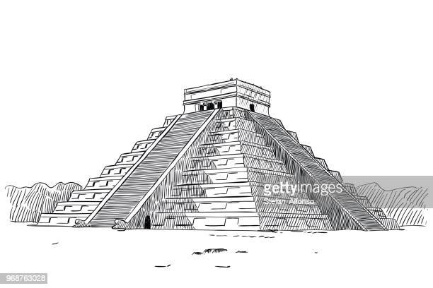 temple of kukulcan - ancient stock illustrations