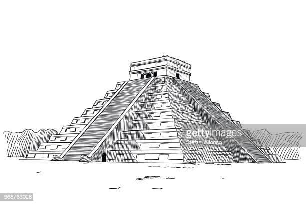 temple of kukulcan - unesco world heritage site stock illustrations