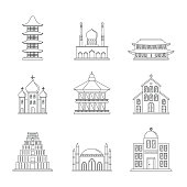 Temple tower castle icons set outline style