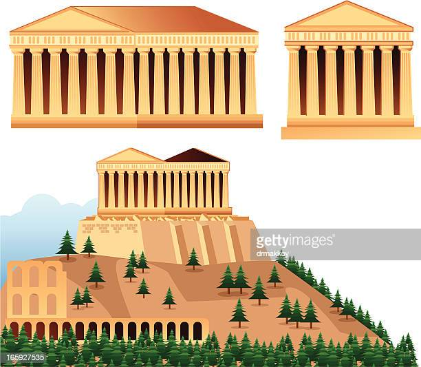 temples of athens - classical greek style stock illustrations