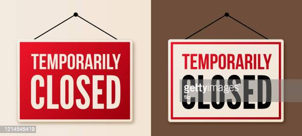 temporarily closed signs - closing stock illustrations