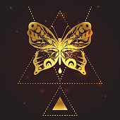Temporary flash golden tattoo design, concept with butterfly