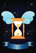 Tempus fugit - winged hourglass