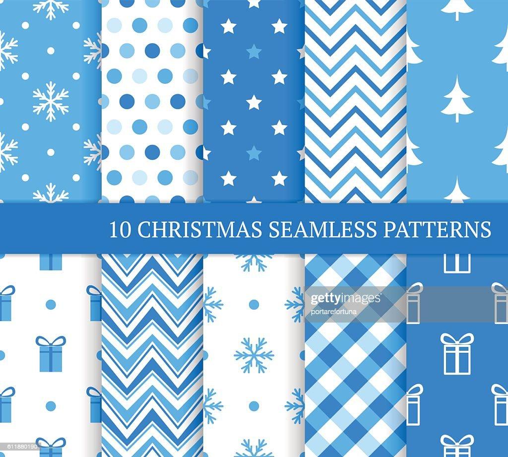Ten blue Christmas different seamless patterns.
