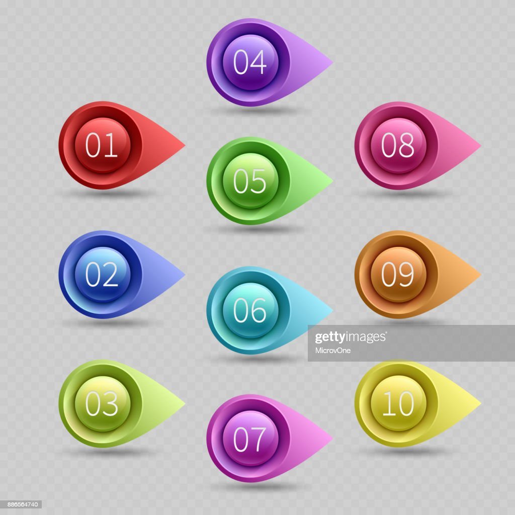 Ten color bullet points with numbers vector collection