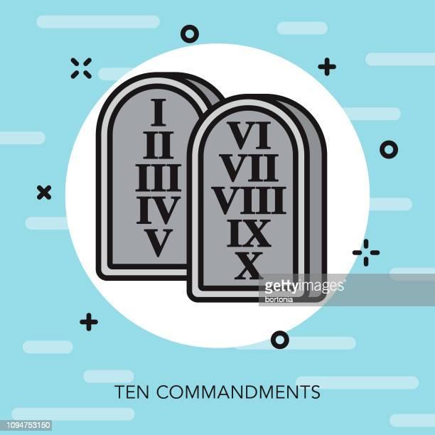 Ten Commandments Christian Thin Line Icon