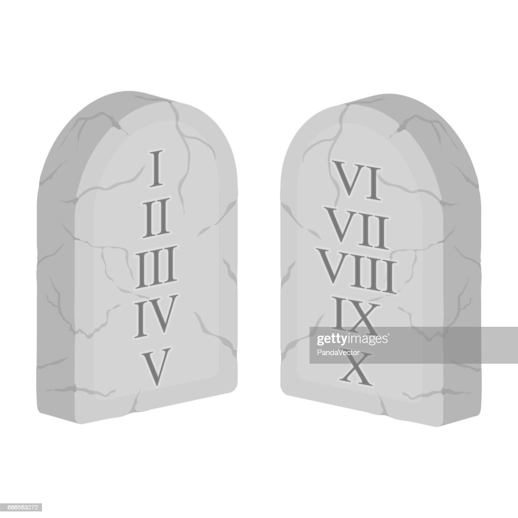Ten Commandments icon in cartoon style isolated on white background. Religion symbol stock vector illustration.