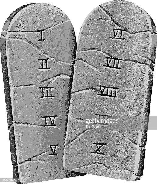 ten commandments - stone stock illustrations, clip art, cartoons, & icons
