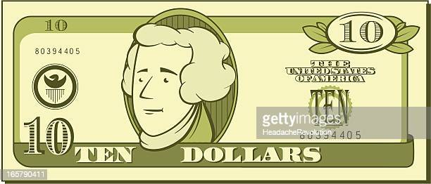 ten dollar bill - cartoon - us paper currency stock illustrations, clip art, cartoons, & icons