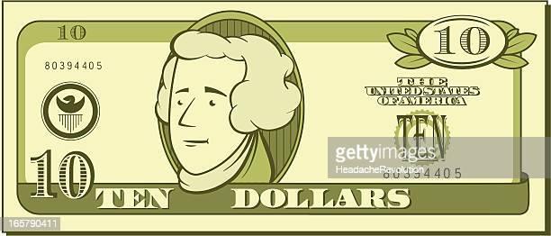 Ten Dollar Bill - Cartoon