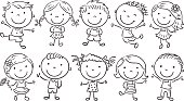 Ten Happy Cartoon Kids, outline