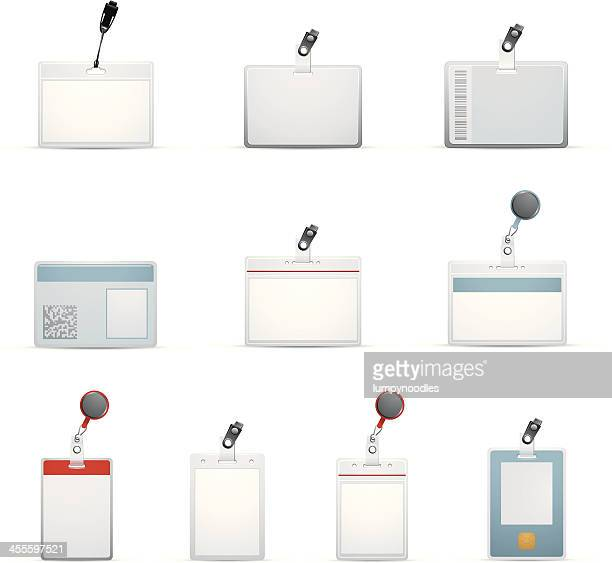 ten id badge templates designs - identity card stock illustrations