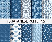 Ten Japanese geometric patterns in blue