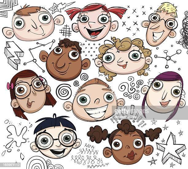 ilustraciones, imágenes clip art, dibujos animados e iconos de stock de diez kiddos. - obesidad infantil