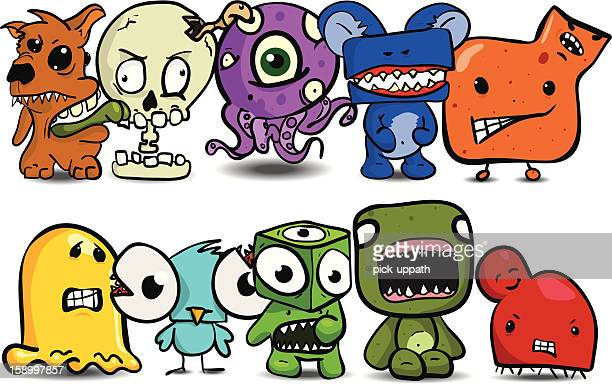 ten little monsters - cartoon characters with big teeth stock illustrations