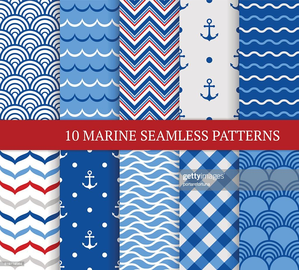 Ten marine different seamless patterns.