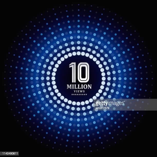 1000万ビュー青のドットパターンの背景を持つ情報 - 数字の10点のイラスト素材/クリップアート素材/マンガ素材/アイコン素材