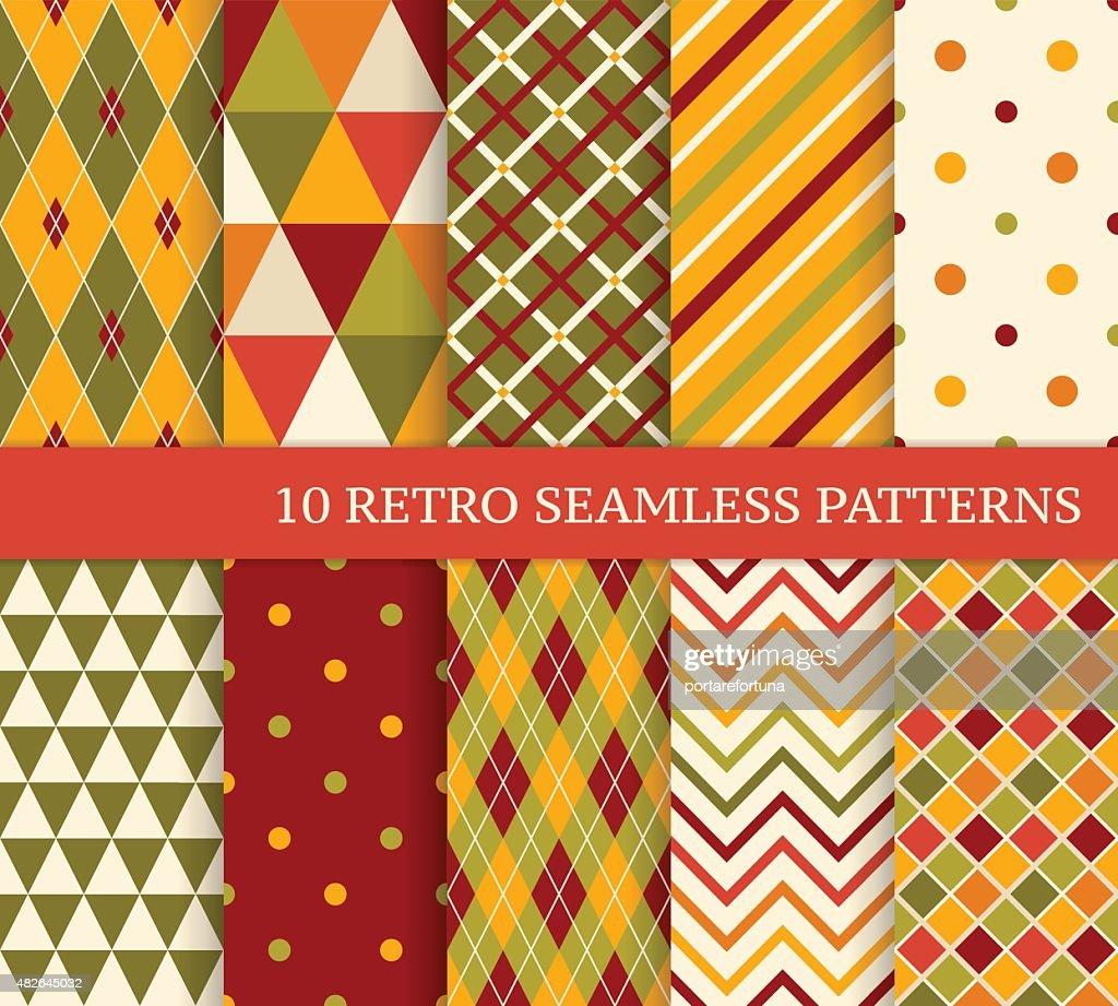 Ten retro different bright seamless patterns.