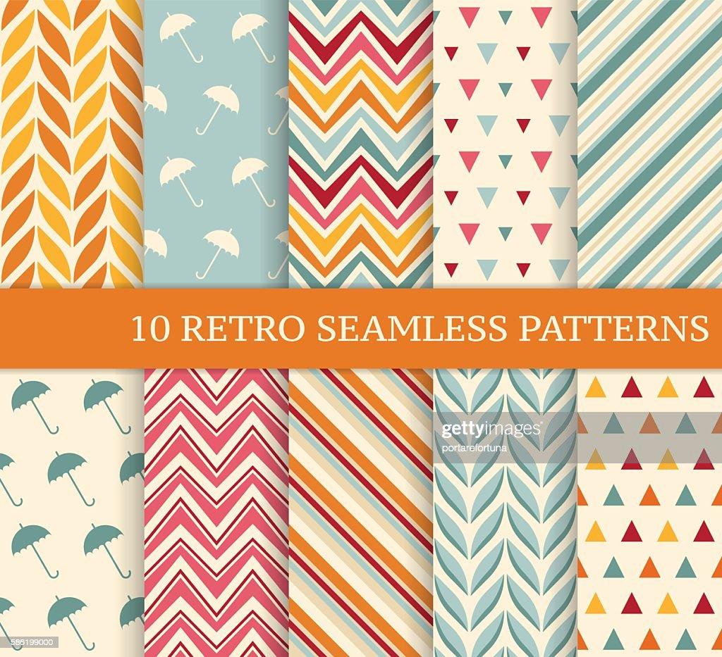 Ten retro different seamless patterns.