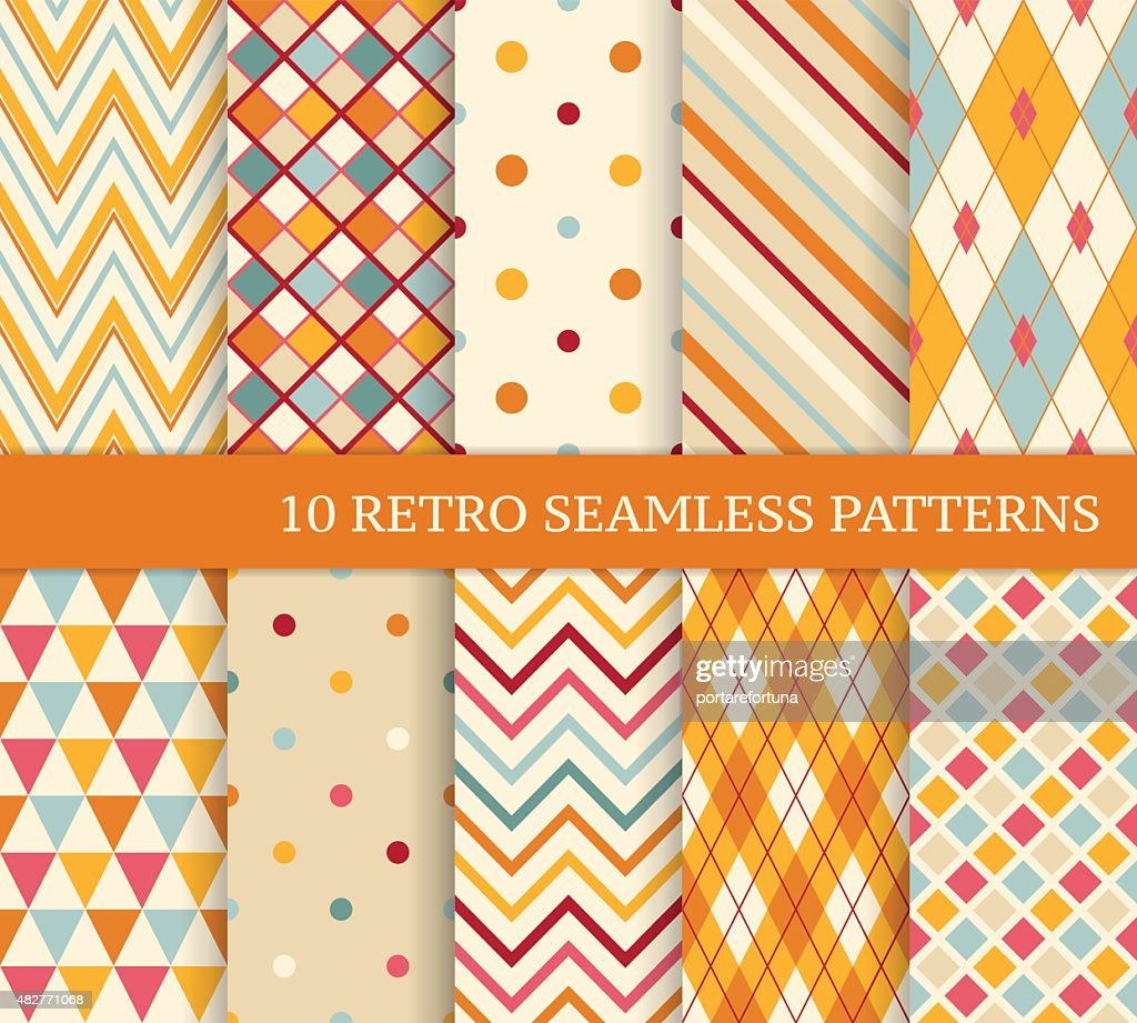 Ten retro different soft seamless patterns