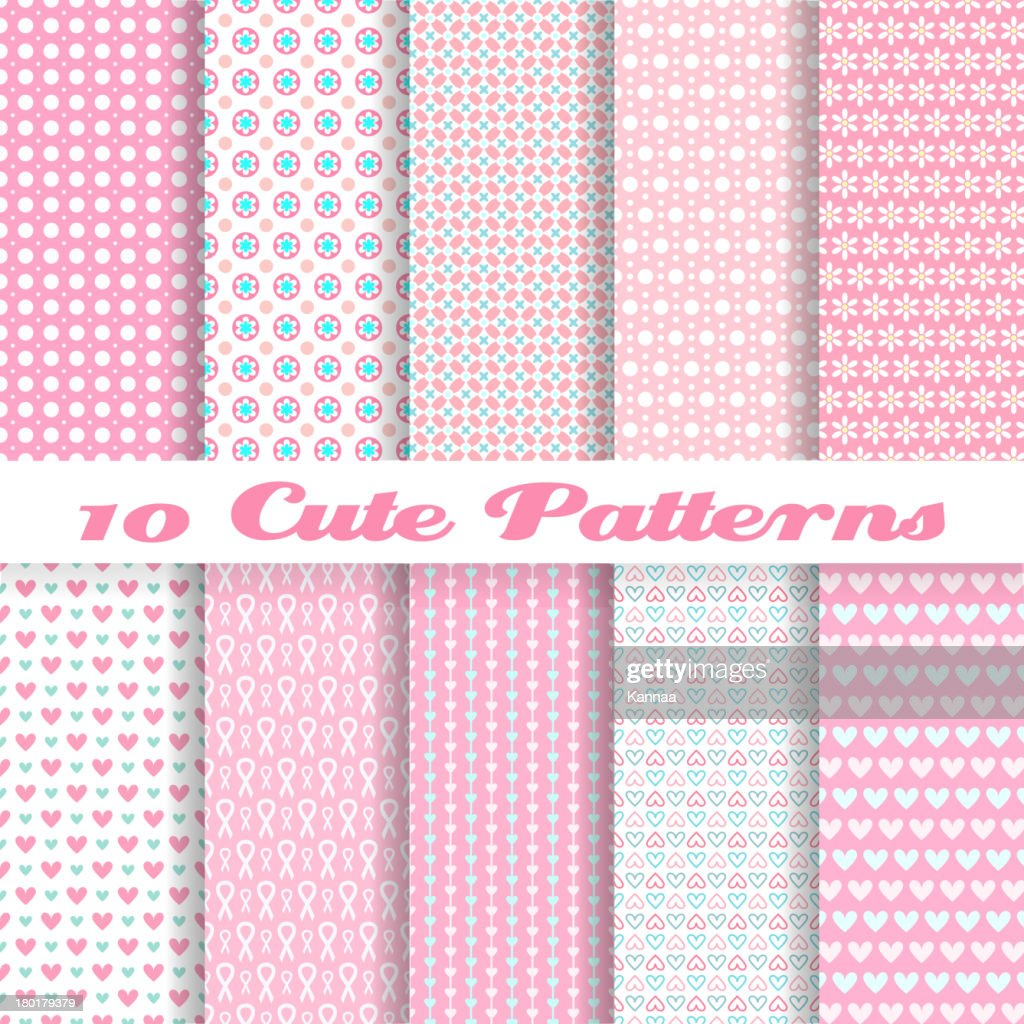 Ten seamless pink vector wallpaper patterns