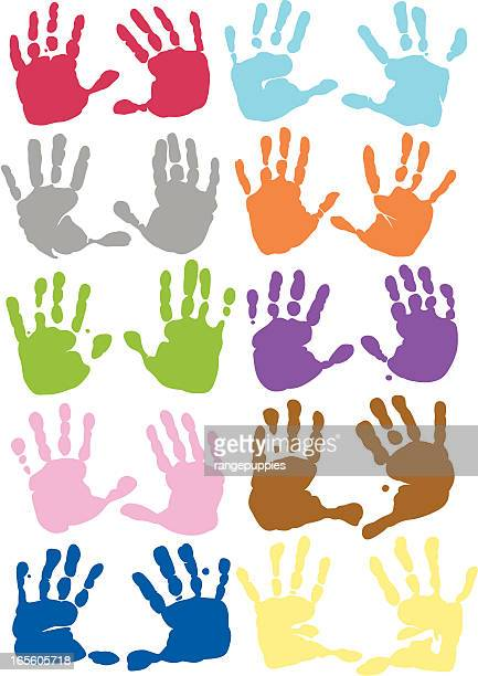 Ten sets of handprints in different colors