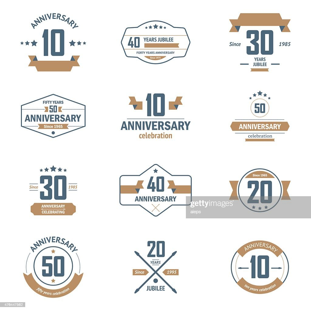 Ten, twenty, thirty, forty, fifty years jubelee logo set.