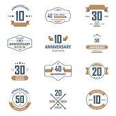 Ten, twenty, thirty, forty, fifty years jubelee logo set.