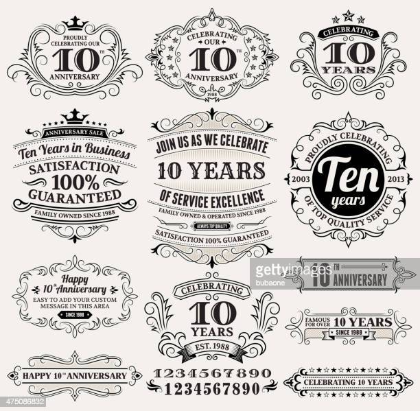 stockillustraties, clipart, cartoons en iconen met ten year anniversary hand-drawn royalty free vector background on paper - 10 11 jaar