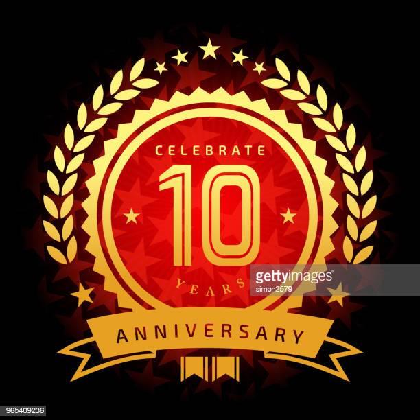星の形の赤い色の背景を持つ 10 年周年記念アイコン - 10th anniversary点のイラスト素材/クリップアート素材/マンガ素材/アイコン素材
