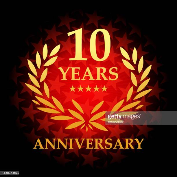 Ten year anniversary icon with red color star shape background