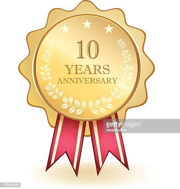 zehnjähriges jubiläum-medaille - 10 11 jahre stock-grafiken, -clipart, -cartoons und -symbole