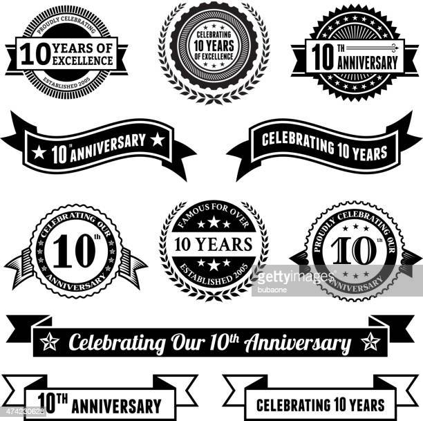 stockillustraties, clipart, cartoons en iconen met ten year anniversary vector badge set royalty free vector background - 10 11 jaar