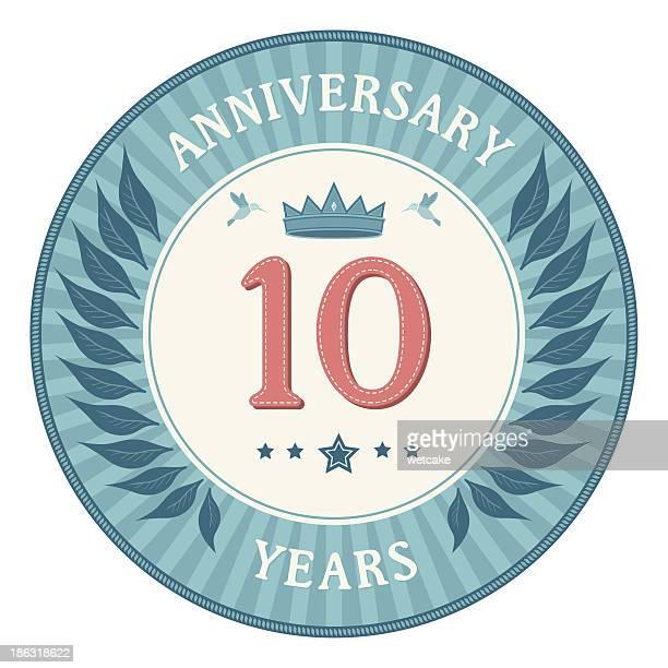 ten years anniversary badge - 10 11 years stock illustrations