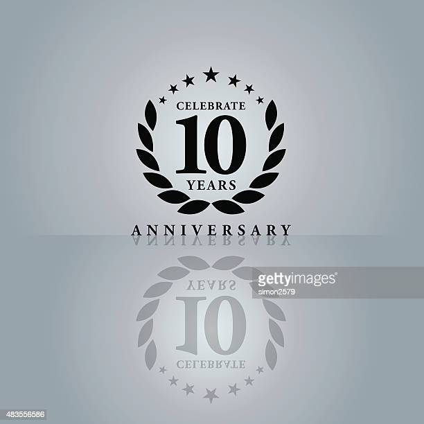 ten years anniversary emblem - anniversary stock illustrations, clip art, cartoons, & icons