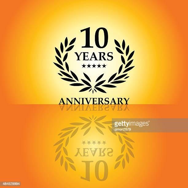 10 年周年記念エンブレム - 10th anniversary点のイラスト素材/クリップアート素材/マンガ素材/アイコン素材