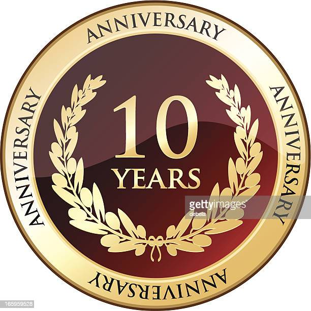 ten years anniversary golden shield - 10 11 years stock illustrations